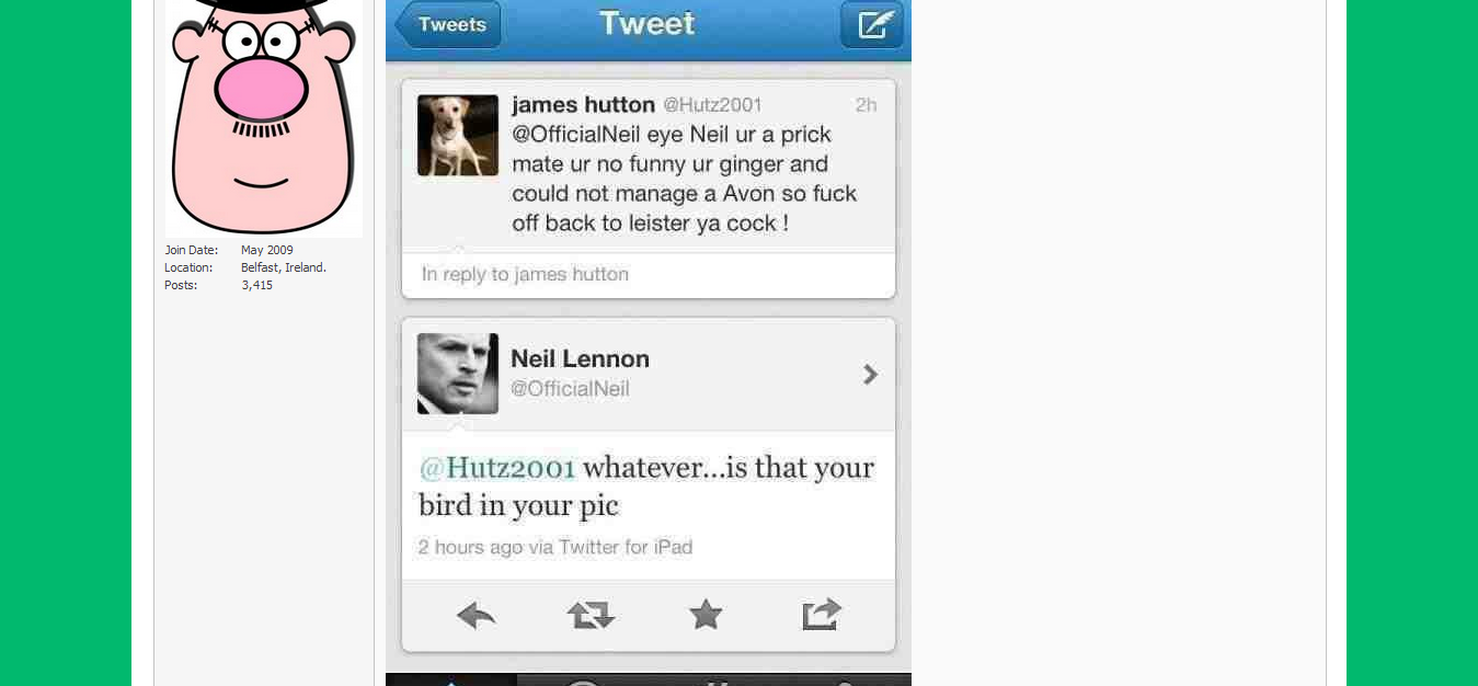 43048,1345797241,Just now on Lenny s Twitter    Page 3  thread at Board67   Mental about Celtic