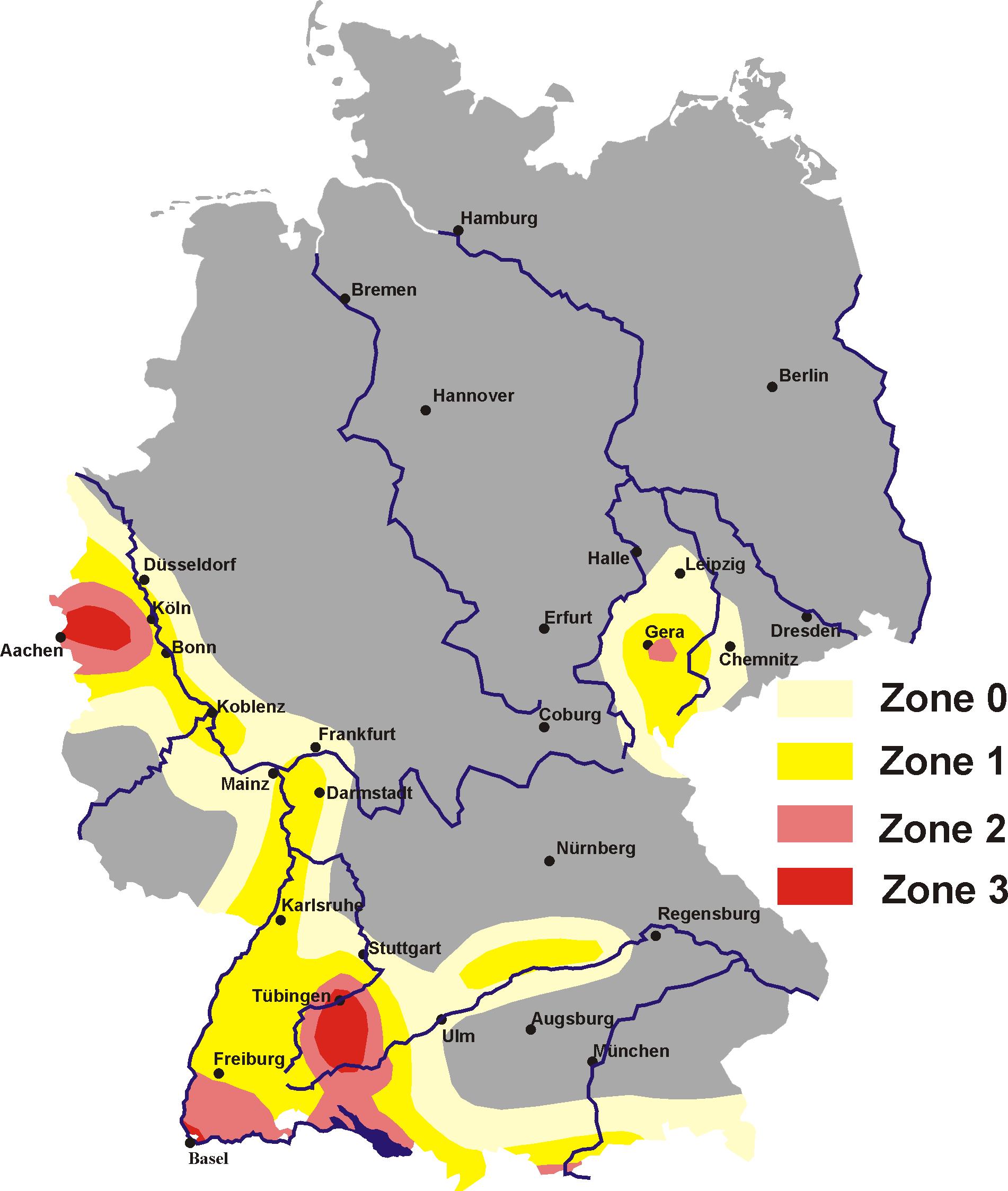 Erdbebenzonen Bw