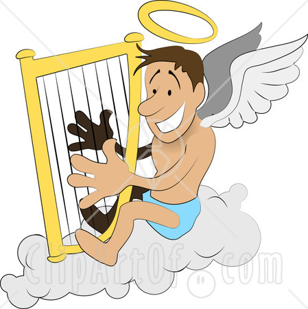 rs55905,1250551510,11300-Male-Angel-With-A-Halo-And-Wings-Sitting-On-A-Cloud-And-Playing-A-Harp-Clipart-Illustration