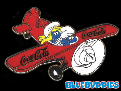 uh58683,1260571618,Coca Cola Airplane Smurf Pin