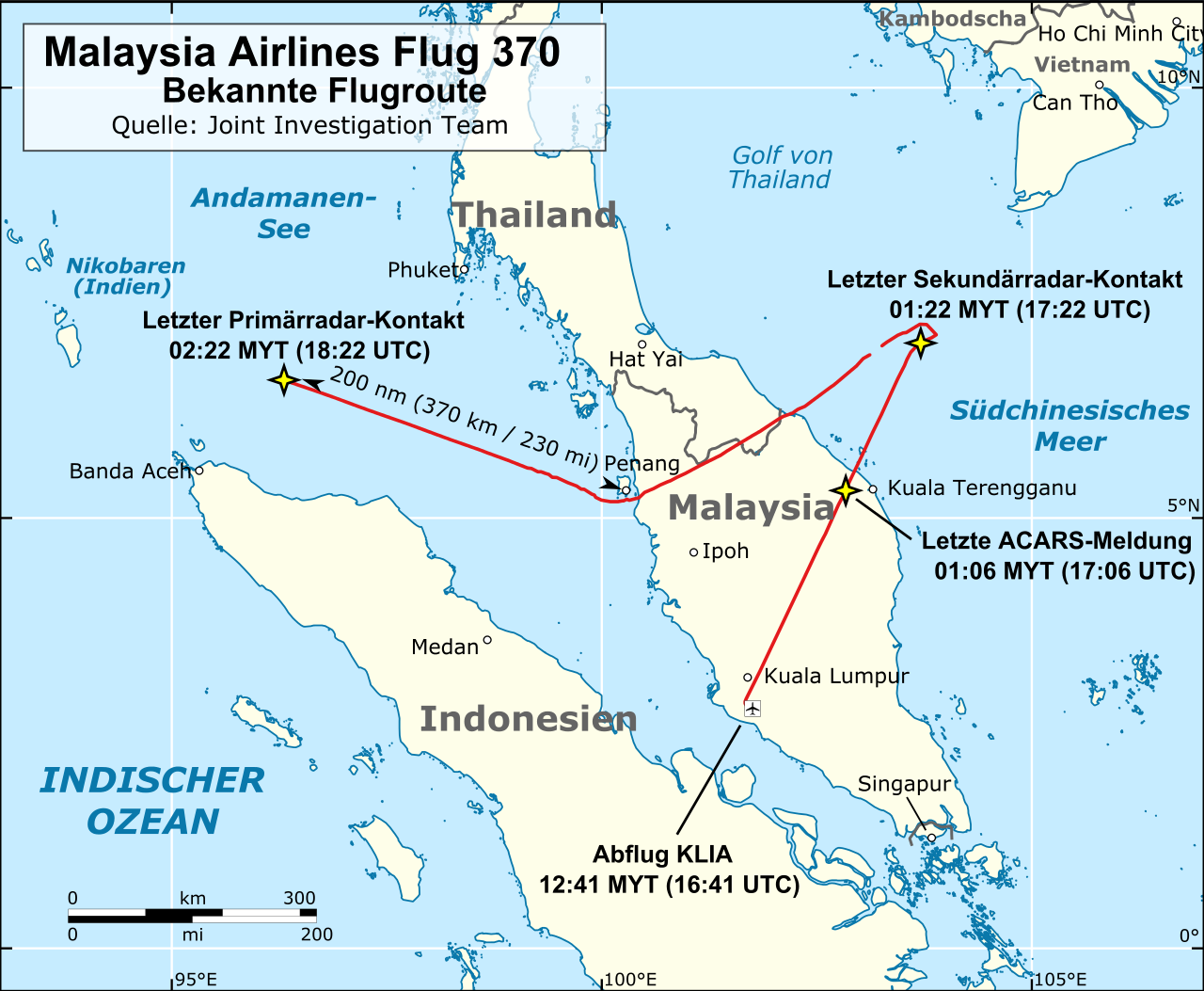 Malaysia Airlines Flight 370 Known Fligh