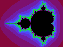 220px-Mandelbrot set with coloured envir