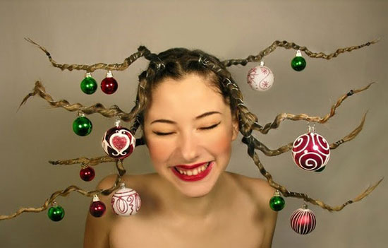 Cute-Yet-Crazy-Christmas-Tree-Party-Hair