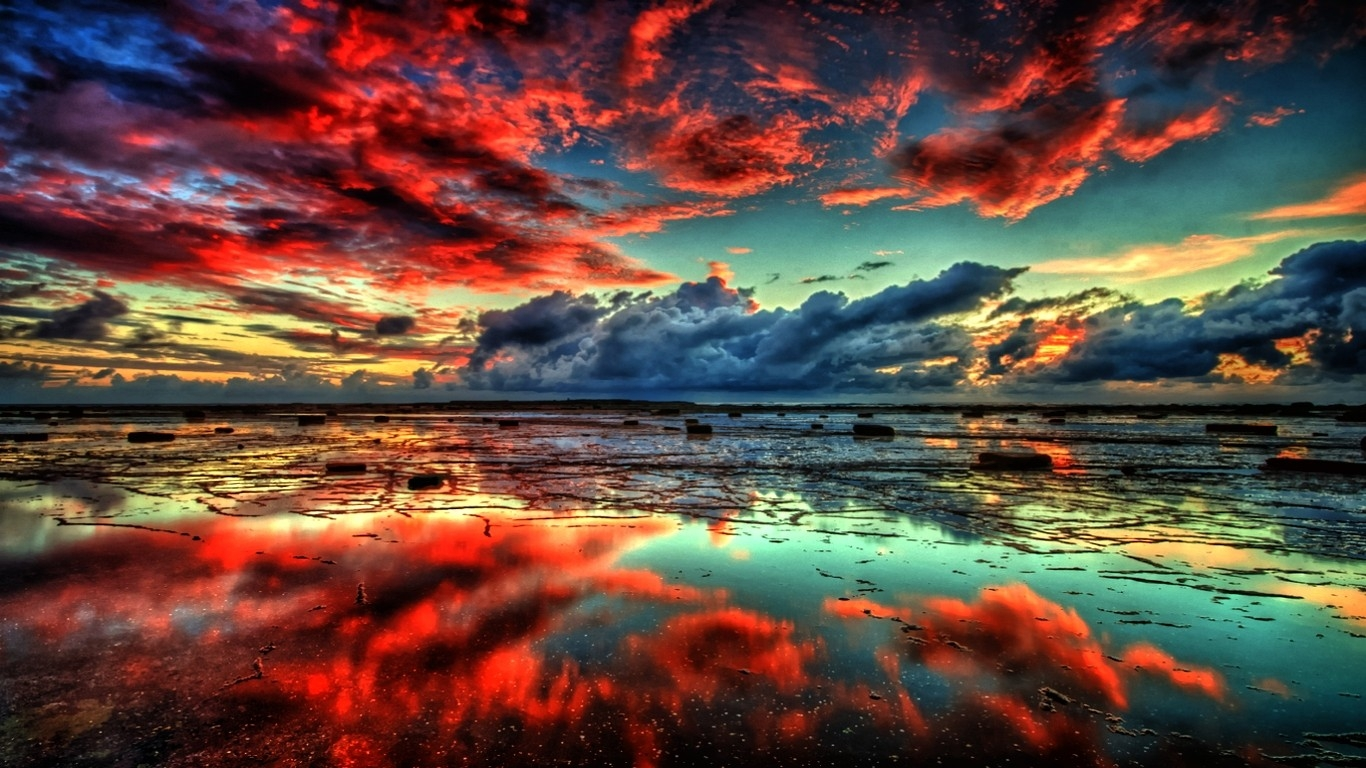 water landscapes nature sun red clouds r