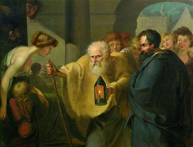 Diogenes looking for a man - attributed
