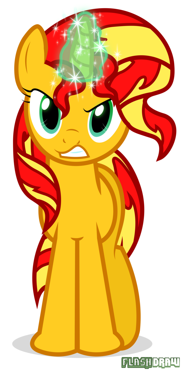 sunset shimmer is angry by flash draw-d6