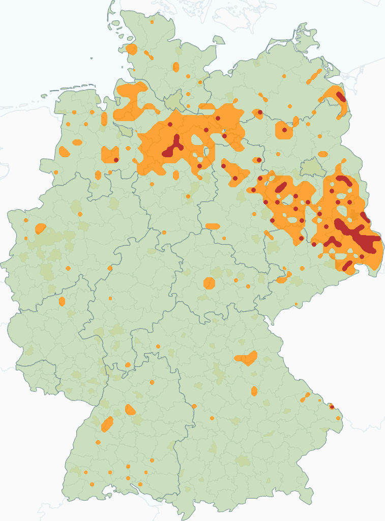 Grey wolf distribution Germany 2017-18
