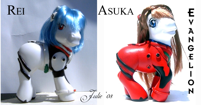 Rei and Asuka Evangelion MLP by tallterr