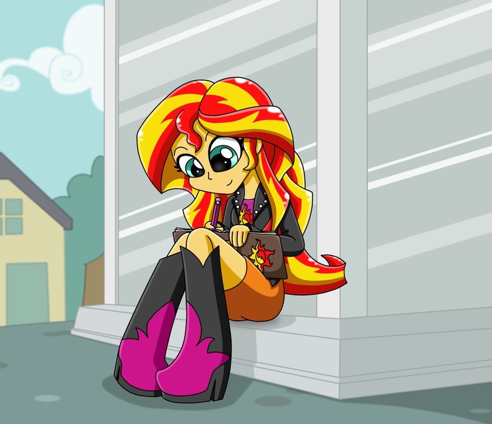 mlp sunset shimmer equestria girl writin