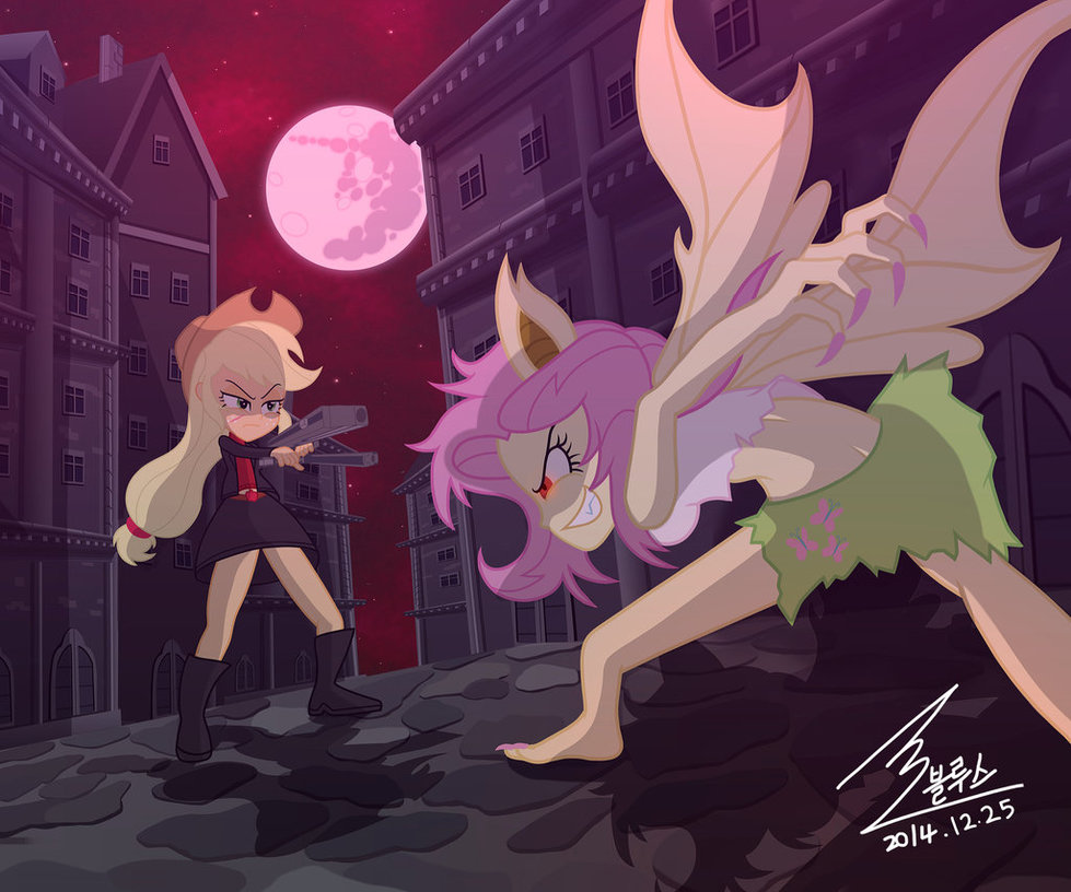 mlp apple jack vs flutter bat by 0bluse-