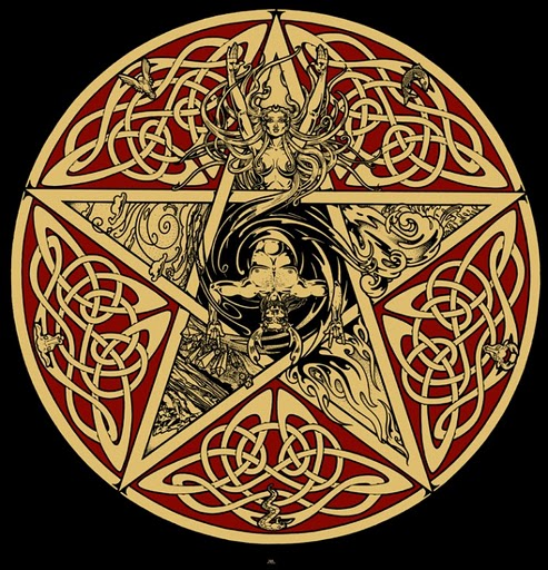 Horned God Goddess Elemental Pentacle Sh