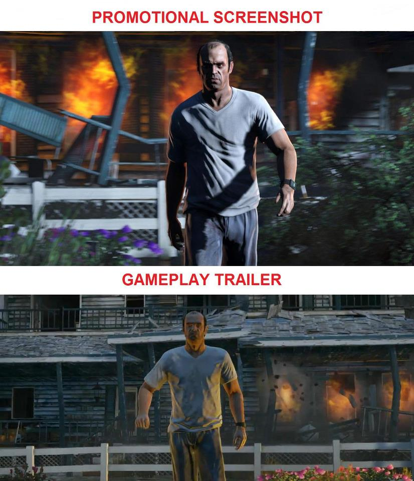 gta v promotional vs gameplay comparison