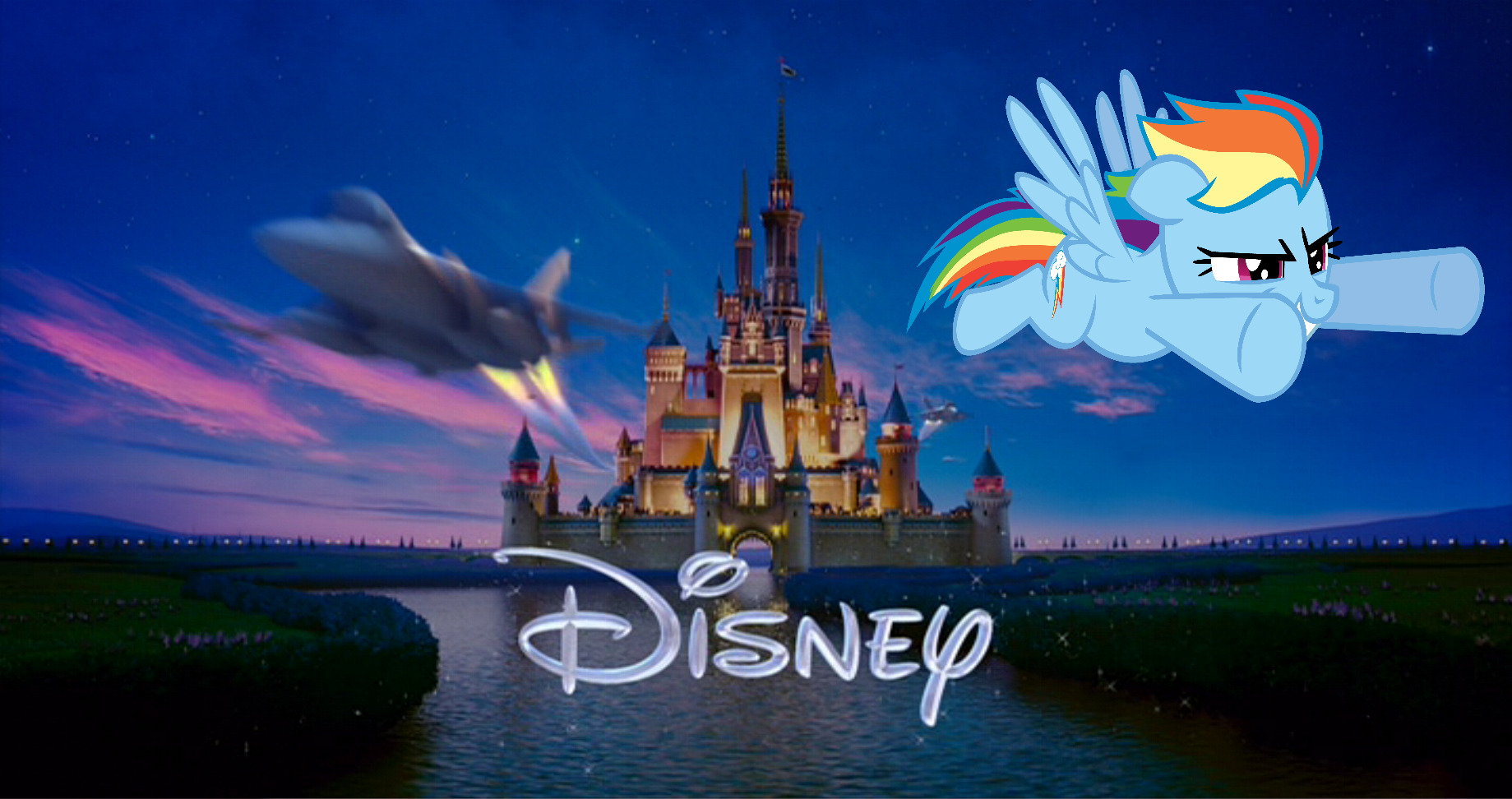 rainbow dash zooms past the castle by fa