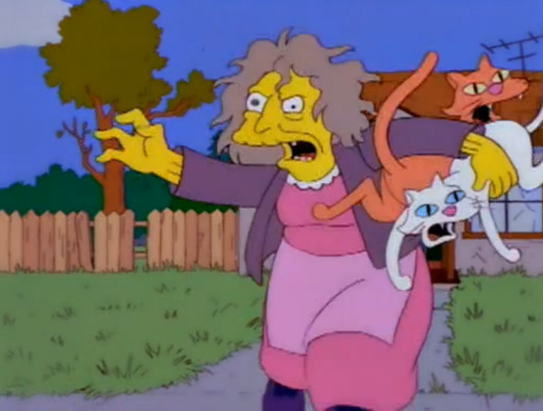 Simpsons Old Lady Throwing Cats Gif