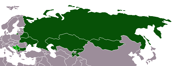 Cyrillic alphabet distribution map