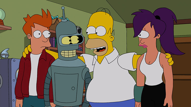 simpsons futurama crossover homer fox.jp