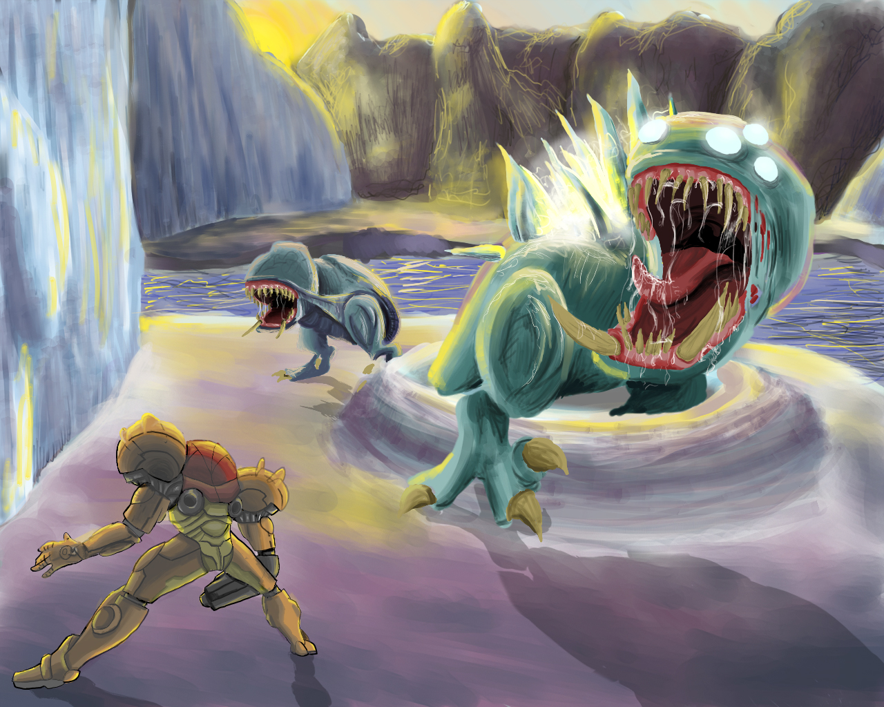 tPfRd1P Metroid Bosses  Sheegoth by Cronoan