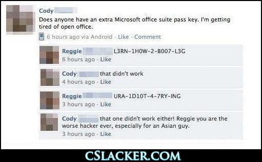 Fwd Does anyone have an extra Microsoft Office suite pass key? (/via