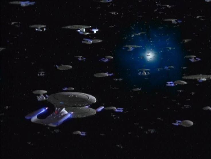 USS Enterprise-D convention near a quant