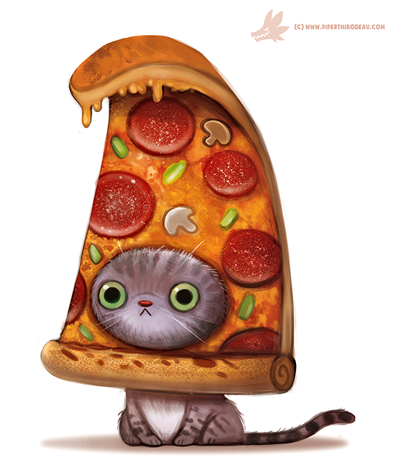 daily paint  1103  pizza cat by cryptid