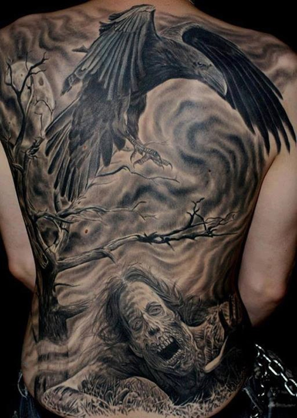 Zombie-and-crow-tattoo