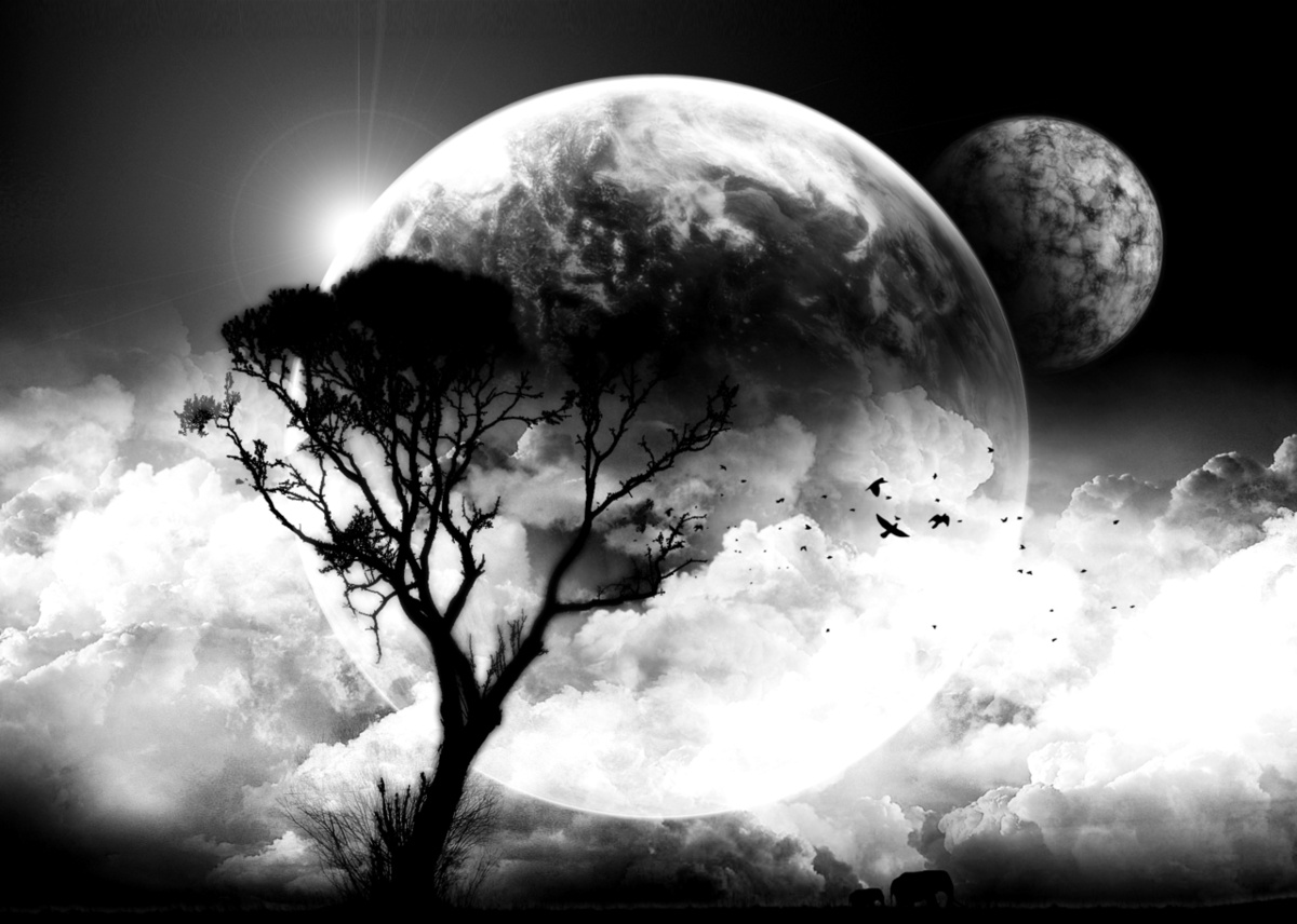 art-black-and-white-clouds-moon-tree-Fav