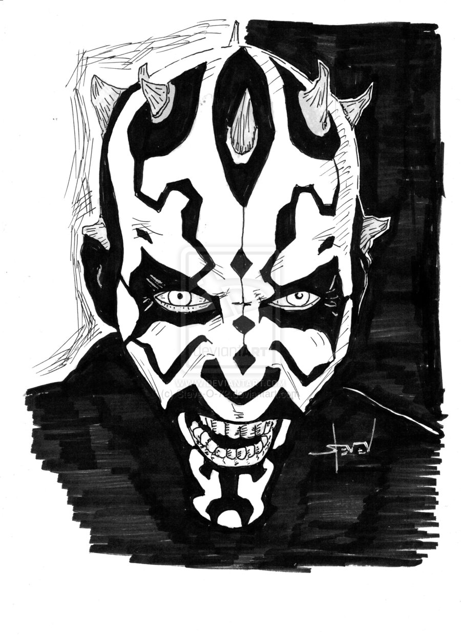 darth maul  black and white  by steve o