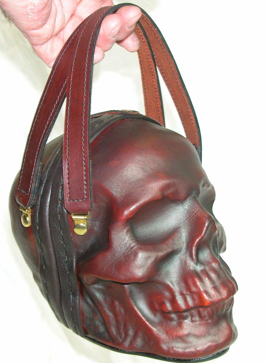 1d3abc leather skull purse clutch in ox