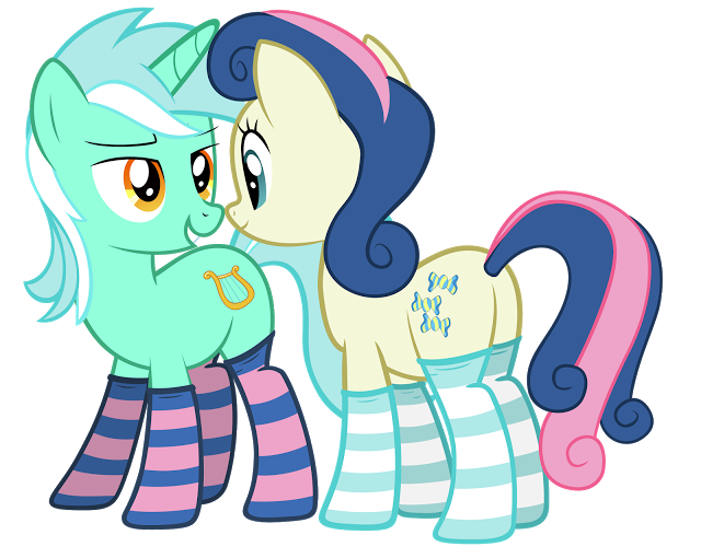 lyra and bon bon in sockies by fluffytul