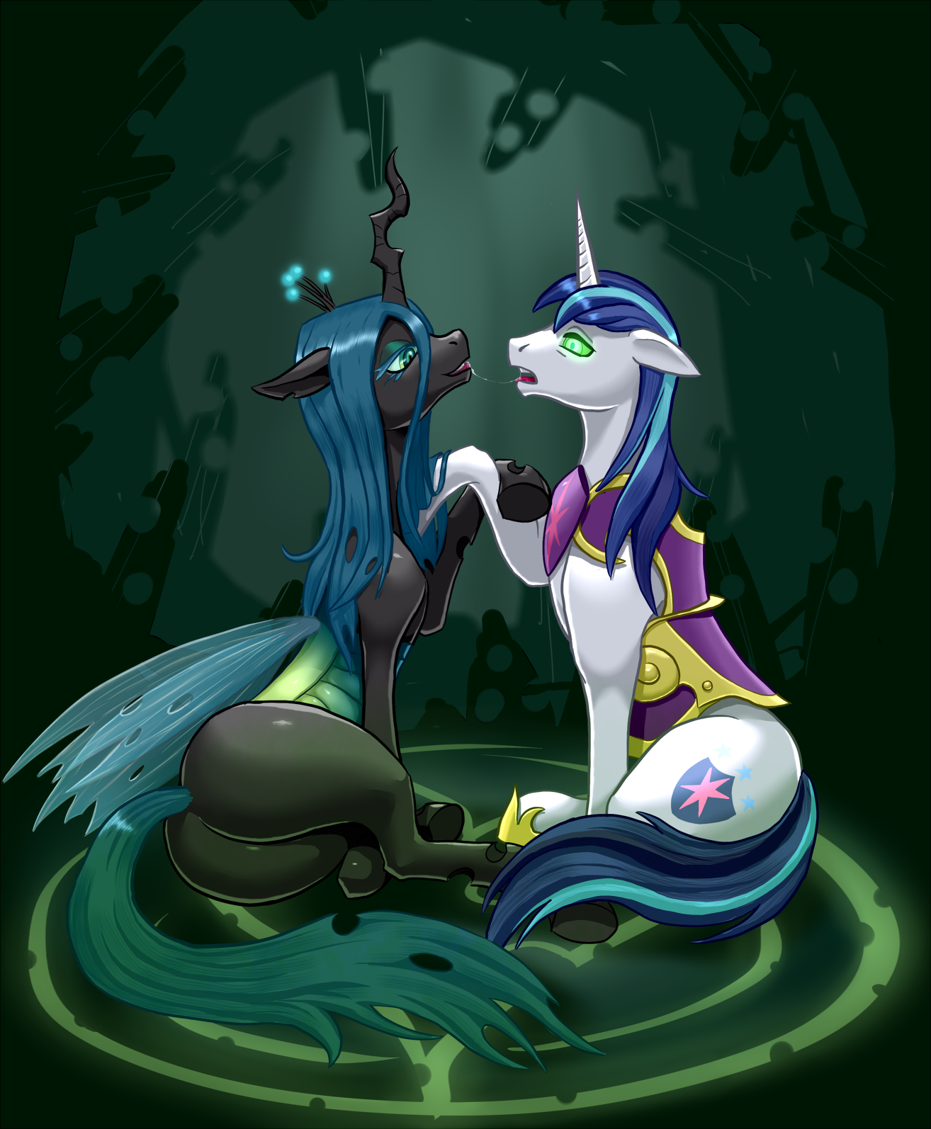 Queen Chrysalis kissing a mind controlle