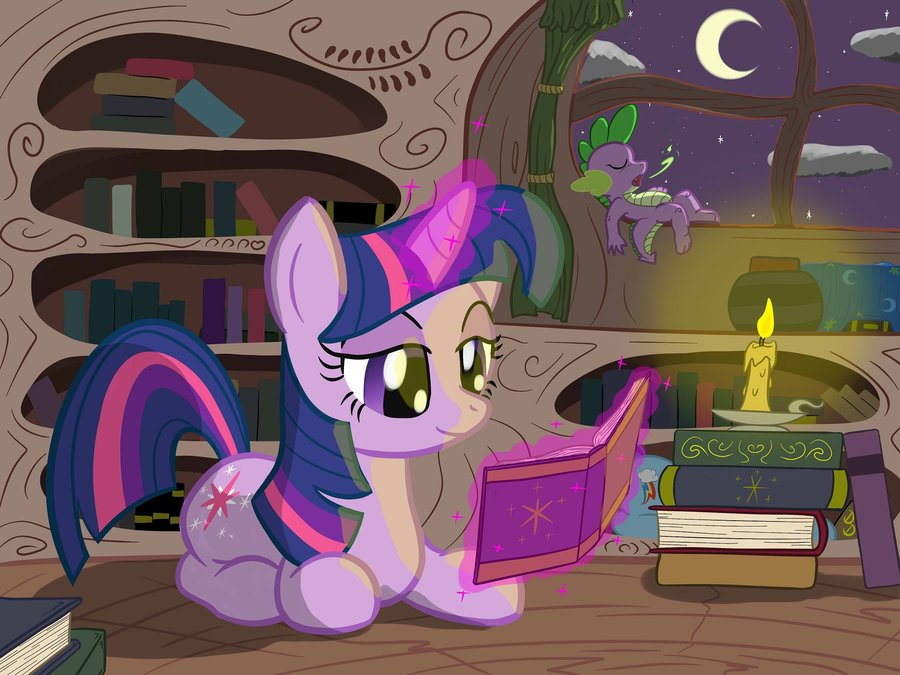 mlp   twilight library night reading by