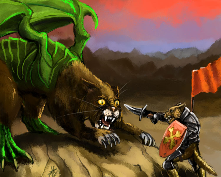 Cat dragon versus dog knight by Crowsroc