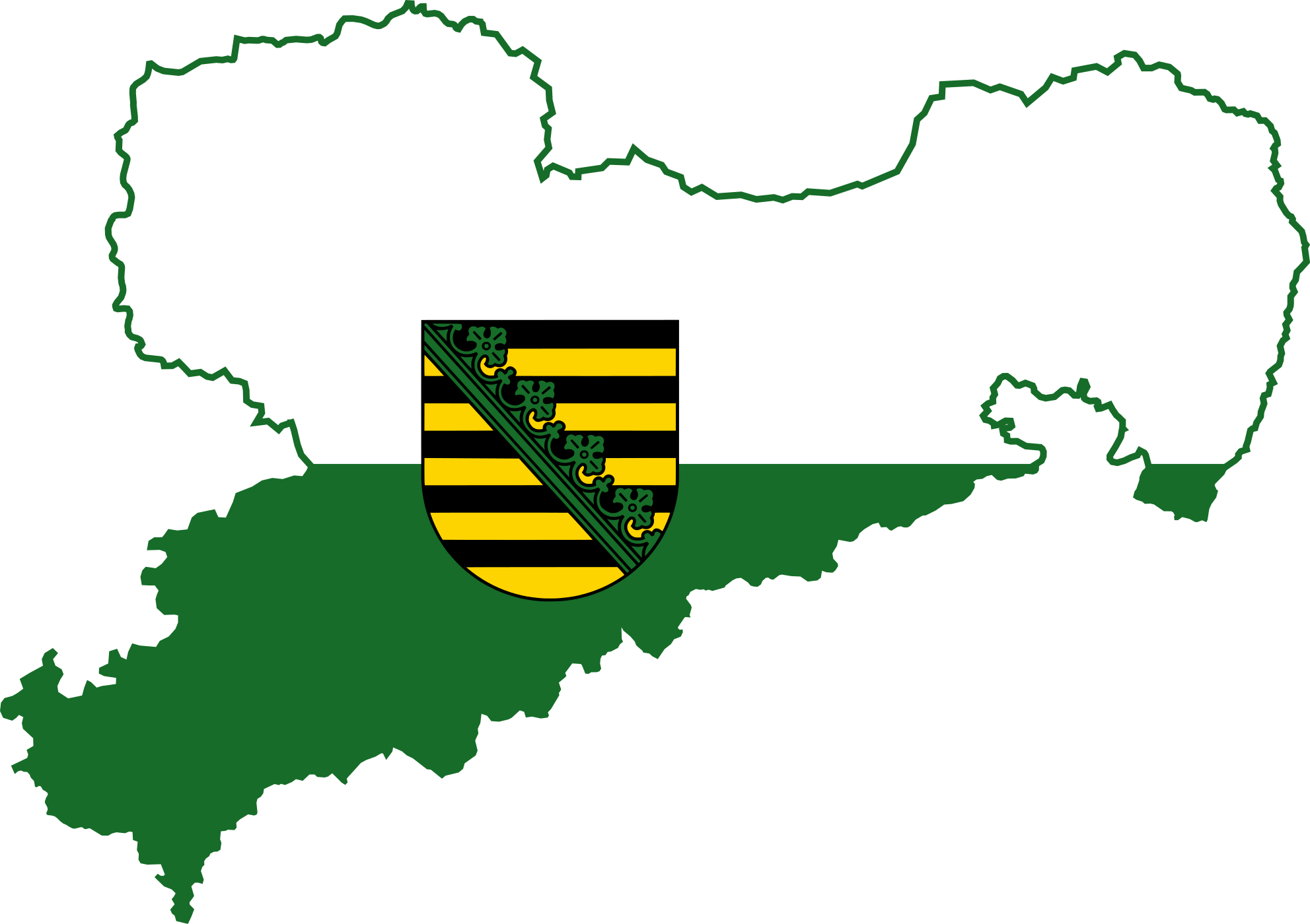 Flag map of Saxony