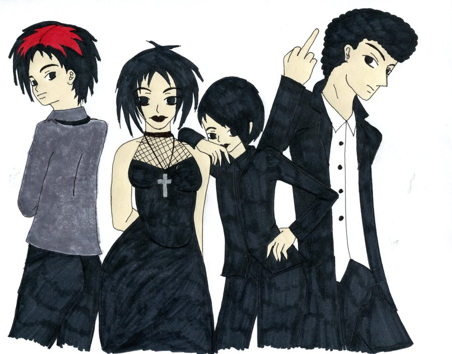 south park  goth kids by gothicvamp28-d4