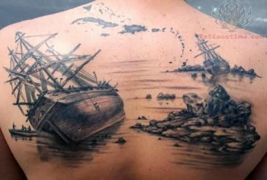 pirate-tattoo-on-upper-back