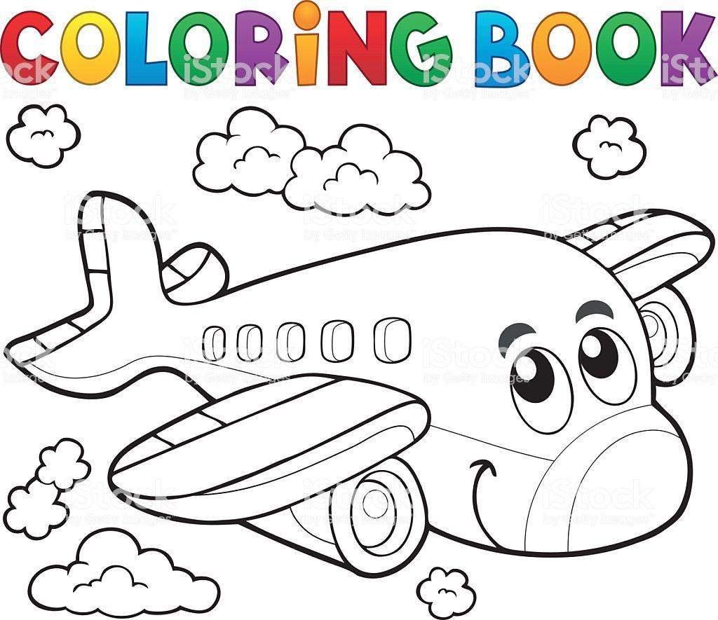 coloring-book-airplane-theme-2-vector-id