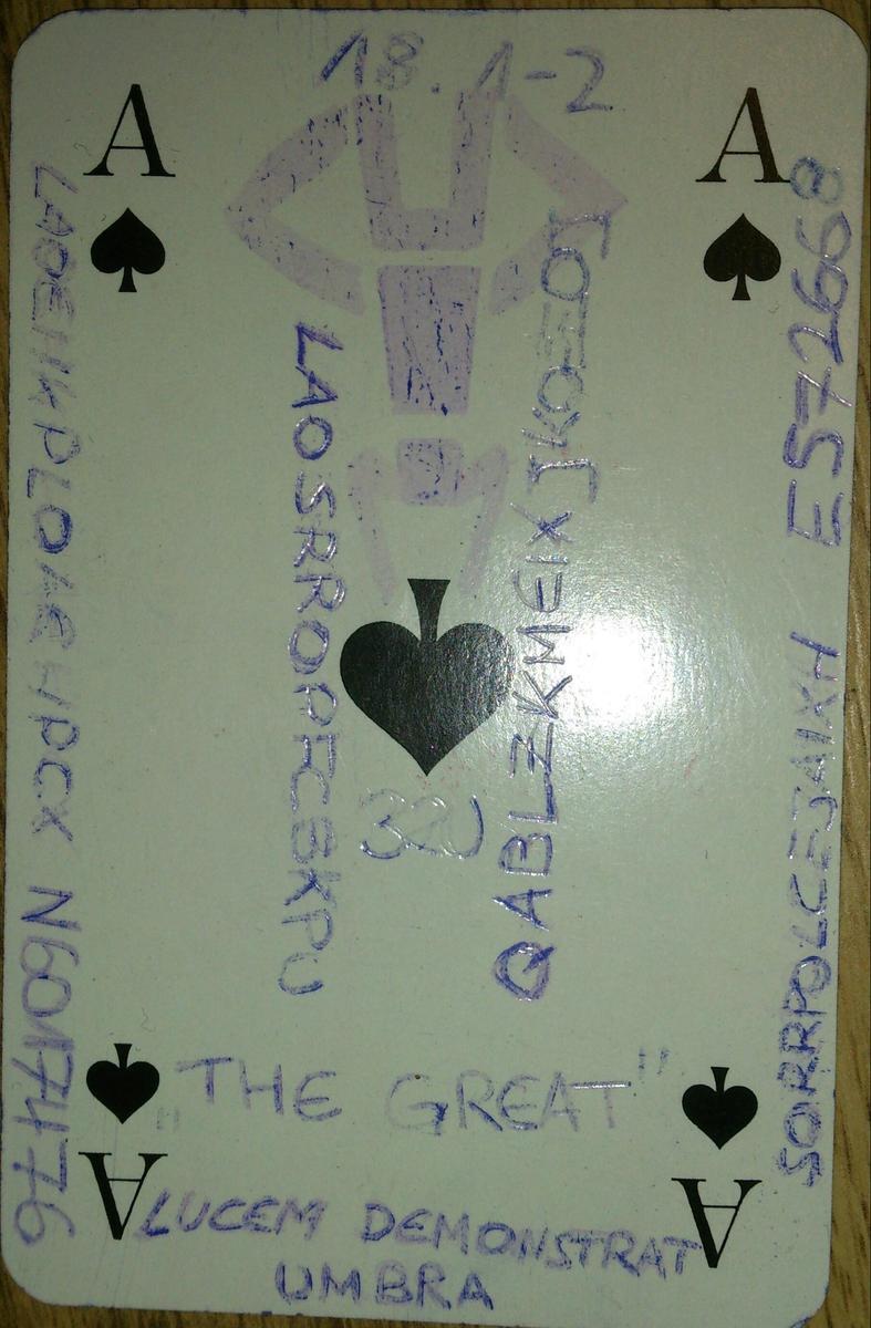 Spielkarte 4 Buchstaben