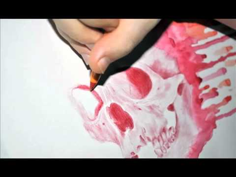Youtube: Stop Motion Drawing 6: Dripping Red Skull by Paul Alexander Thornton