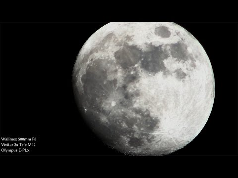 Youtube: Moon video with 60$ Walimex 500/8 lens & 2x teleconverter at 2000mm