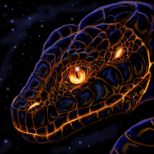 Lava snake head by felineflames